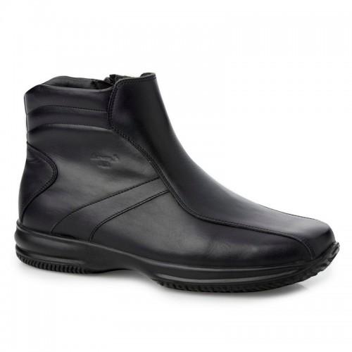 Ανδρικά Casual Μποτάκια Με Φερμουάρ BOXER 12078 Leather Black