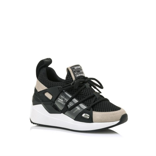 Γυναικεία Sneakers Sixtyseven 30301 Leather suede Off White Reyina Black Νέες Παραλαβές