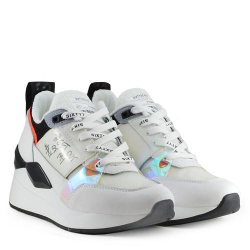 Γυναικεία Δετά Sneakers Sixtyseven 30032 Leather White Traffic Orange Γυναικεία Παπούτσια