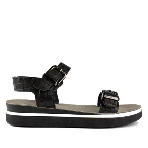 Γυναικεία Πέδιλα Flatform ATENEO 21-2401 Leather Black Croco