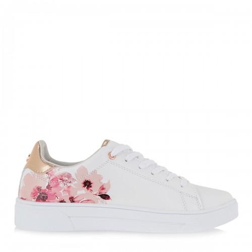 Γυναικεία Sneakers Renato Garini 19WC2084 Eco Leather White with Pink Flowers