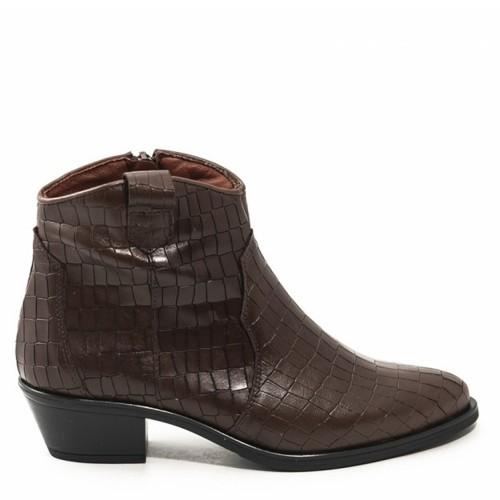 Γυναικεία Μποτάκια Cowgirl Desiree 92113 Leather Croco Brown