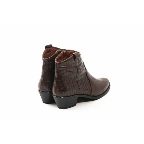 Γυναικεία Μποτάκια Cowgirl Desiree 92113 Leather Croco Brown Νέες Παραλαβές