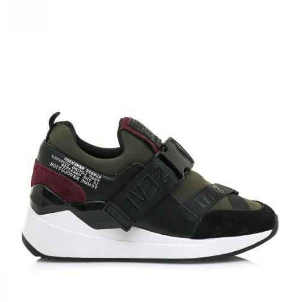 Γυναικεία Sneakers Sixtyseven 30209 Leather Suede Black Neaoprene Kakhy