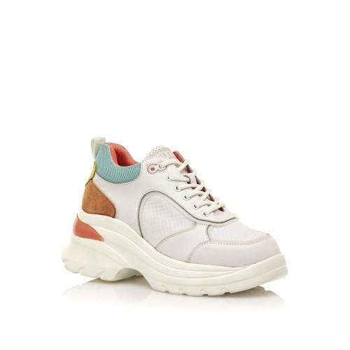 Γυναικεία Sneakers Sixtyseven 30396 Leather Suede Actled White Suede Lemon Γυναικεία Παπούτσια