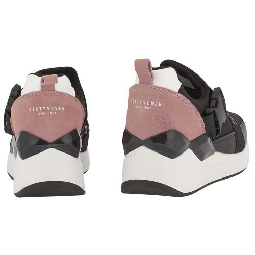 Γυναικεία Casual Παπούτσια Sixtyseven 79874 Suede Textile Black Pink Γυναικεία Παπούτσια