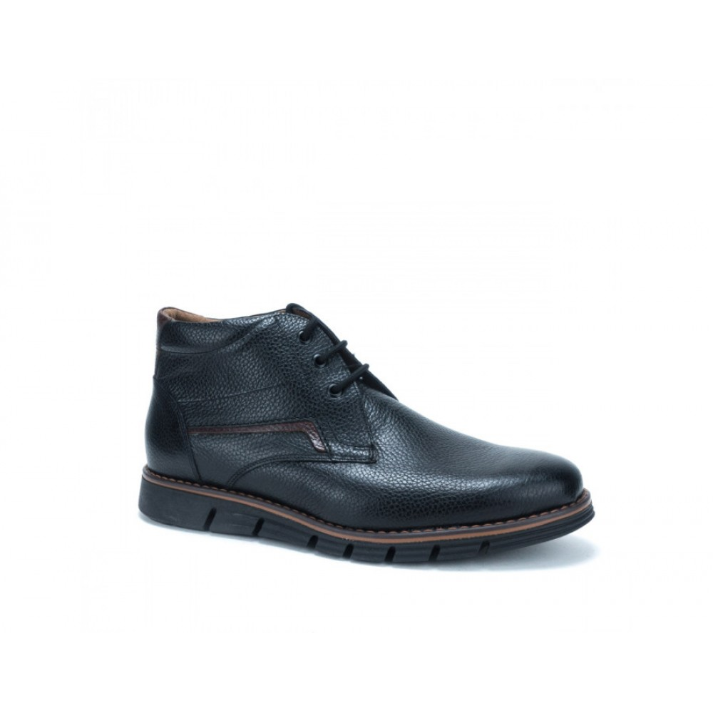 ec186857e6a -30% Ανδρικά Δετά Casual Μποτάκια Antonio 158 Leather Black Ανδρικά  Παπούτσια