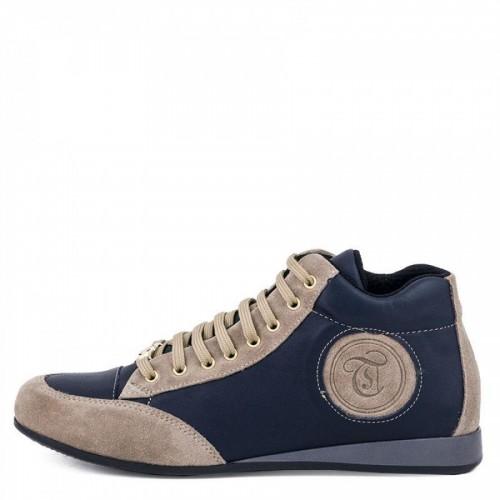 42c90045e5c Γυναικεία Δετά Casual Sneakers Μποτάκια Toutounis Φ2185 Leather Blue Beige